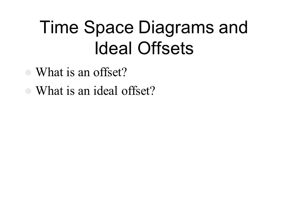 Time Space Diagrams and Ideal Offsets What is an offset? What is an ideal offset?