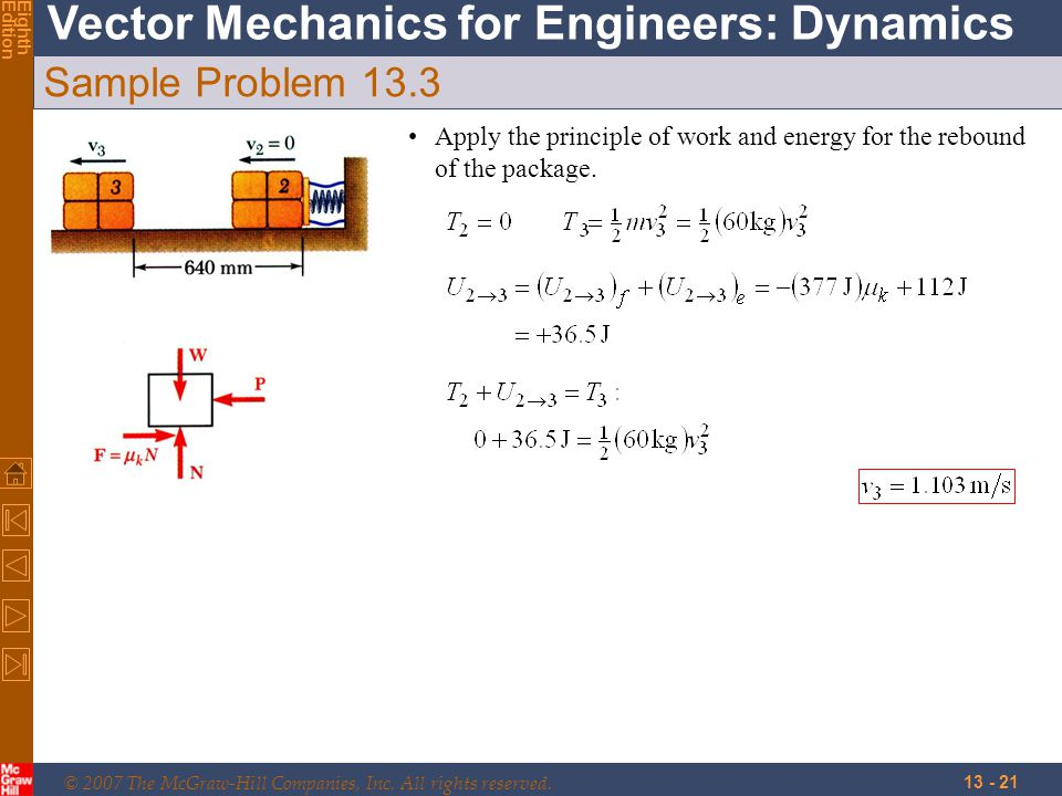 © 2007 The McGraw-Hill Companies, Inc. All rights reserved. Vector Mechanics for Engineers: Dynamics EighthEdition 13 - 21 Sample Problem 13.3 Apply t