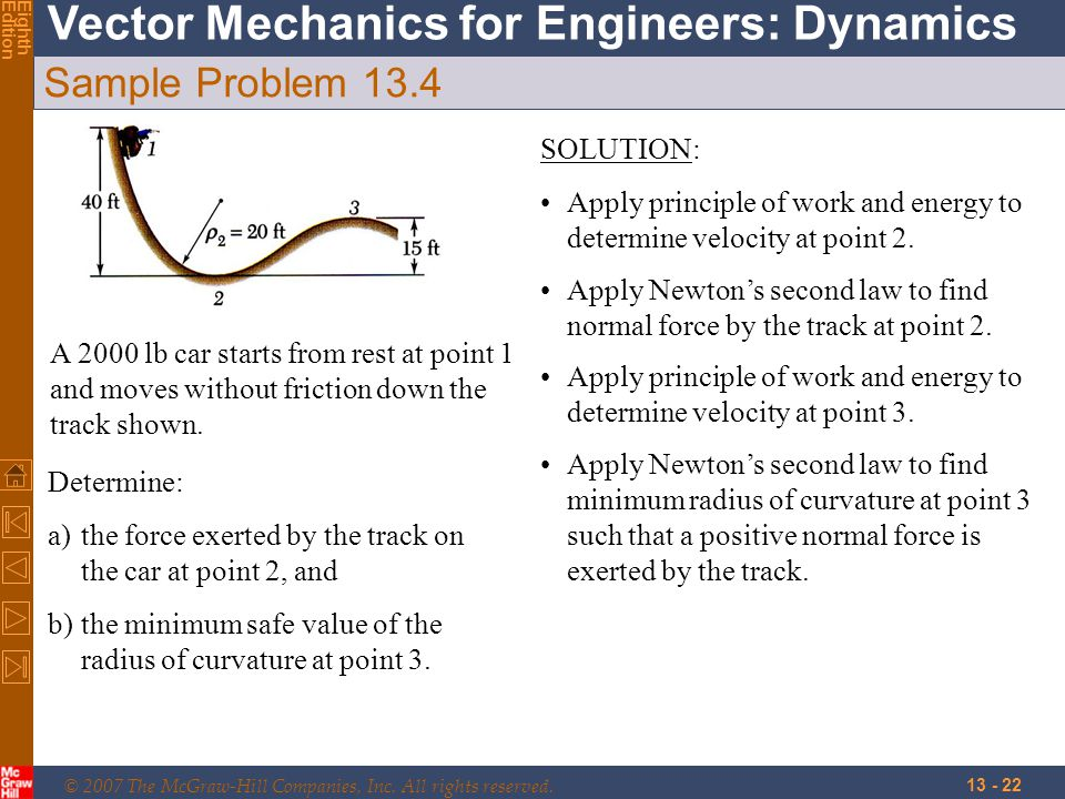 © 2007 The McGraw-Hill Companies, Inc. All rights reserved. Vector Mechanics for Engineers: Dynamics EighthEdition 13 - 22 Sample Problem 13.4 A 2000