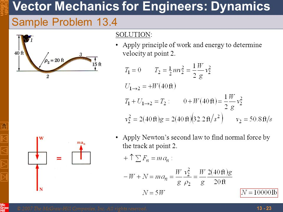 © 2007 The McGraw-Hill Companies, Inc. All rights reserved. Vector Mechanics for Engineers: Dynamics EighthEdition 13 - 23 Sample Problem 13.4 SOLUTIO