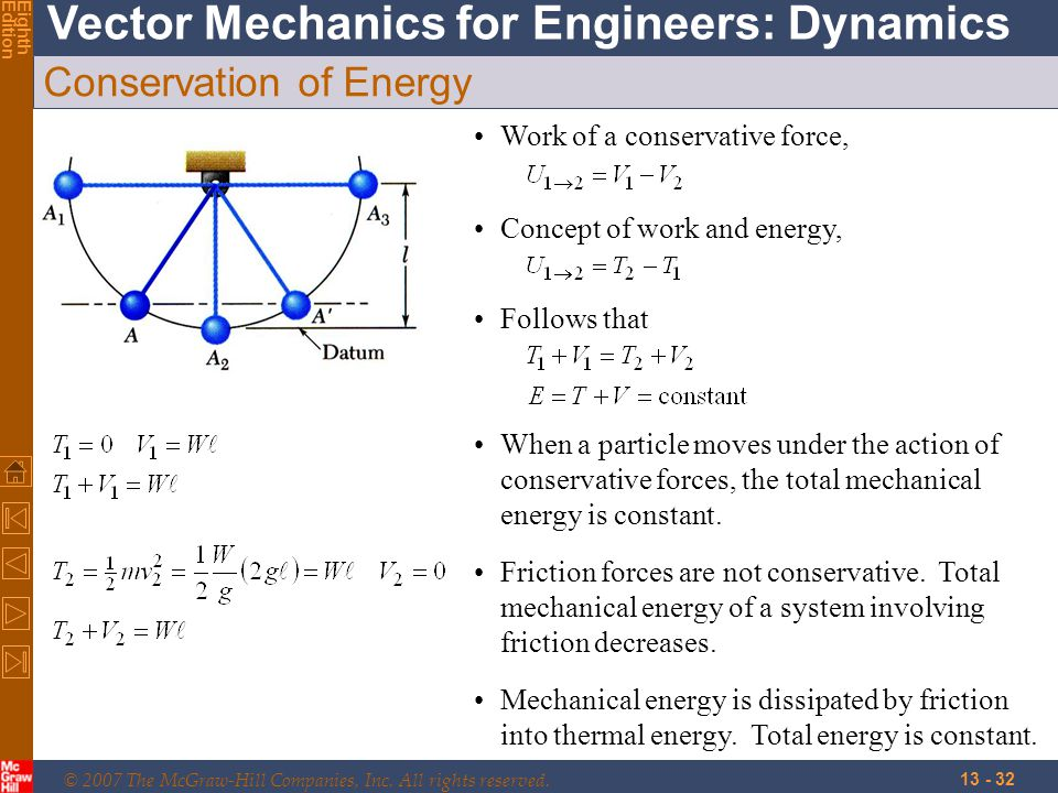 © 2007 The McGraw-Hill Companies, Inc. All rights reserved. Vector Mechanics for Engineers: Dynamics EighthEdition 13 - 32 Conservation of Energy Work
