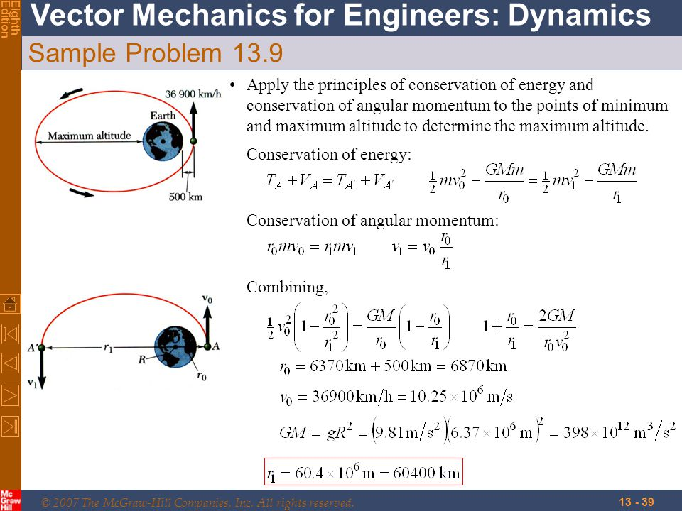 © 2007 The McGraw-Hill Companies, Inc. All rights reserved. Vector Mechanics for Engineers: Dynamics EighthEdition 13 - 39 Sample Problem 13.9 Apply t