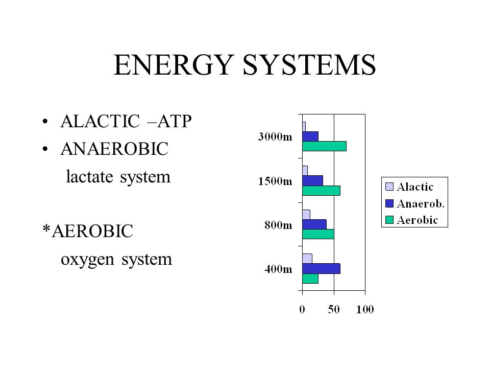 ENERGY SYSTEMS ALACTIC –ATP ANAEROBIC lactate system *AEROBIC oxygen system
