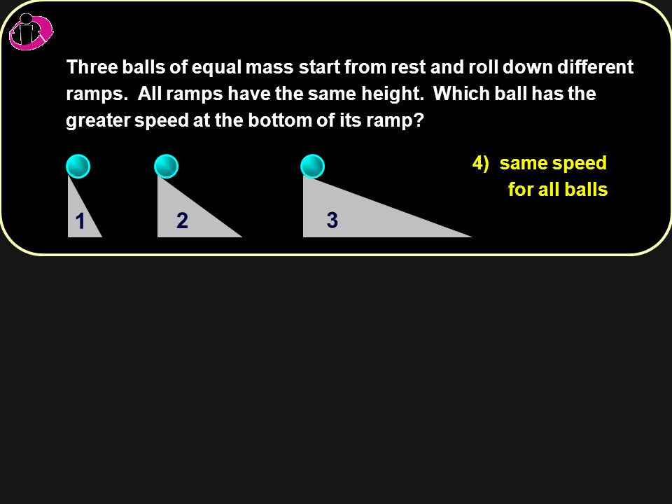 Three balls of equal mass start from rest and roll down different ramps. All ramps have the same height. Which ball has the greater speed at the botto