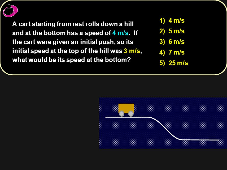 A cart starting from rest rolls down a hill and at the bottom has a speed of 4 m/s. If the cart were given an initial push, so its initial speed at th