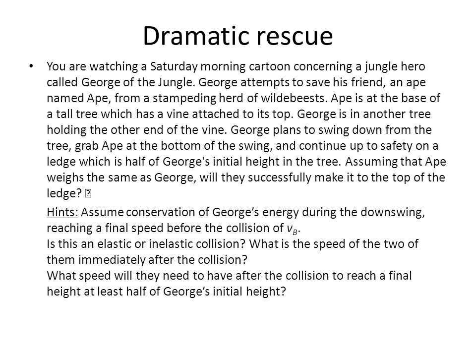 Dramatic rescue You are watching a Saturday morning cartoon concerning a jungle hero called George of the Jungle.