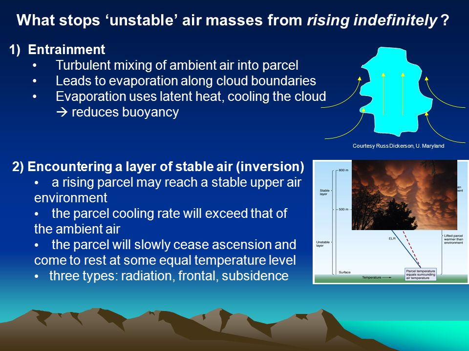 1) Entrainment Turbulent mixing of ambient air into parcel Leads to evaporation along cloud boundaries Evaporation uses latent heat, cooling the cloud