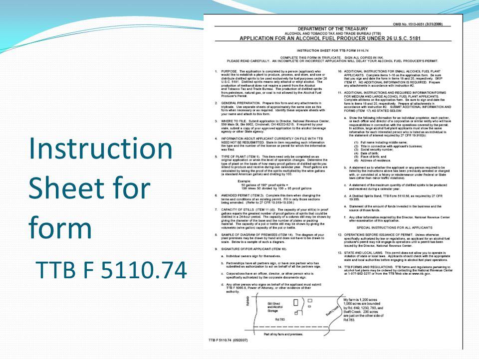 Instruction Sheet for form TTB F 5110.74