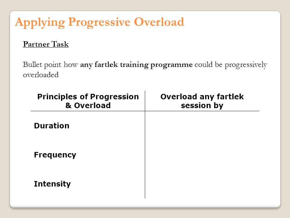 Applying Progressive Overload Partner Task Bullet point how any fartlek training programme could be progressively overloaded Principles of Progression & Overload Overload any fartlek session by Duration Frequency Intensity