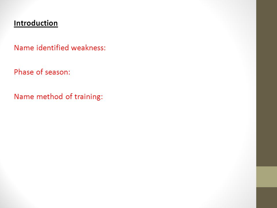 Introduction Name identified weakness: Phase of season: Name method of training: