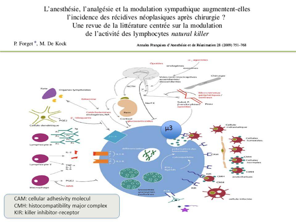 CAM: cellular adhesivity molecul CMH: histocompatibility major complex KIR: killer inhibitor-receptor μ3