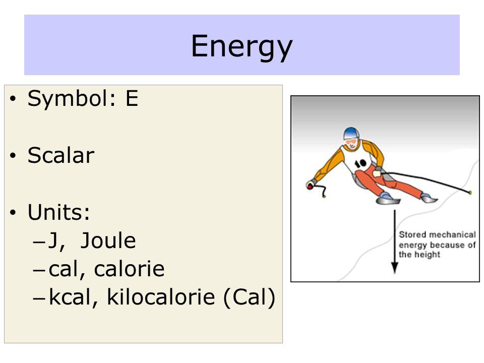 Energy Symbol: E Scalar Units: – J, Joule – cal, calorie – kcal, kilocalorie (Cal)