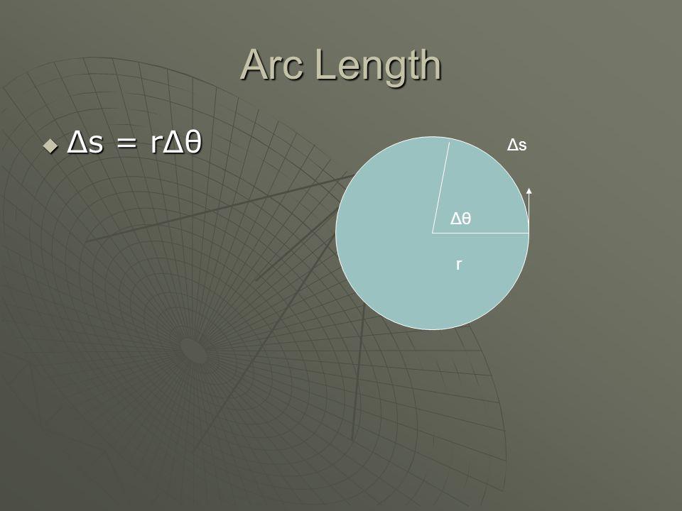Tangential Speed Δθ r ΔsΔs vtvt but ω=Δθ/Δt so