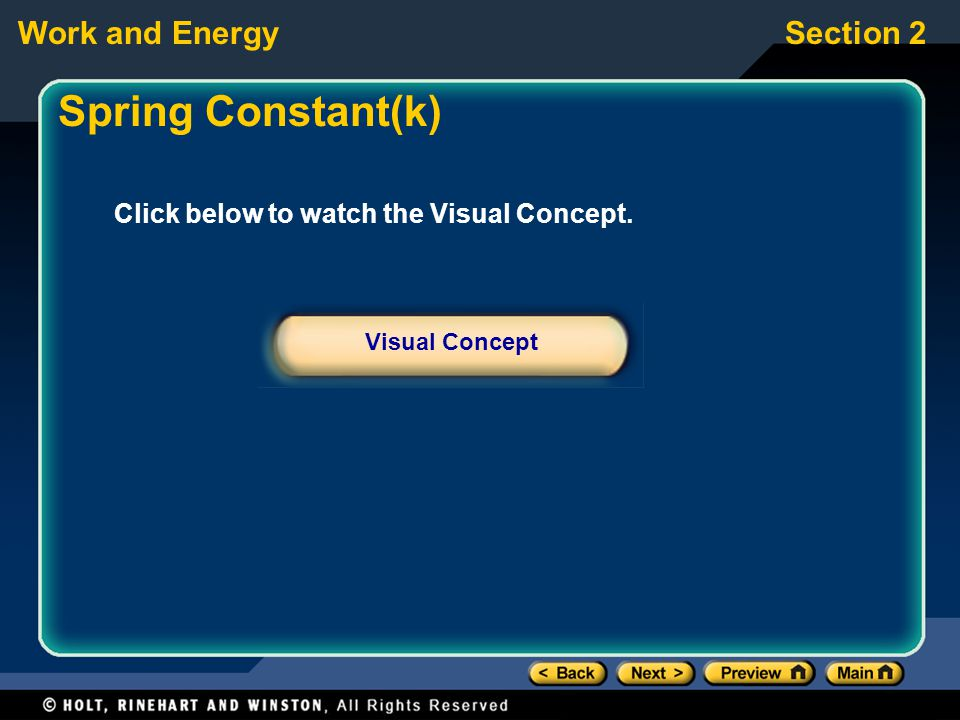 Work and EnergySection 2 Click below to watch the Visual Concept. Visual Concept Spring Constant(k)