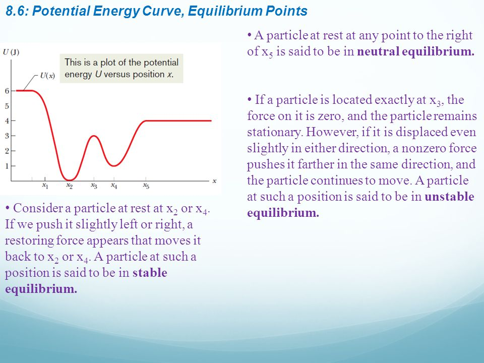 8.6: Potential Energy Curve, Equilibrium Points A particle at rest at any point to the right of x 5 is said to be in neutral equilibrium.