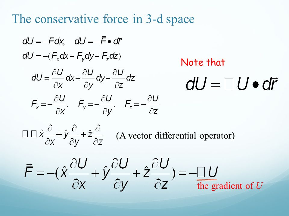 The conservative force in 3-d space (A vector differential operator) Note that the gradient of U