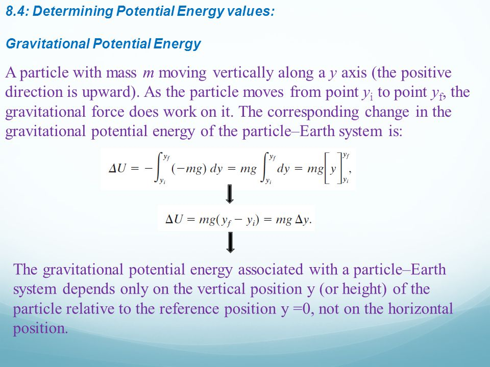 8.4: Determining Potential Energy values: Gravitational Potential Energy A particle with mass m moving vertically along a y axis (the positive direction is upward).