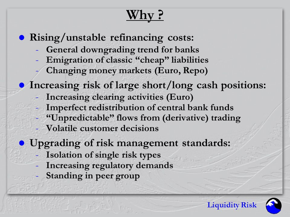 Liquidity Risk Overview Why What How Solutions DBs solution Q & A