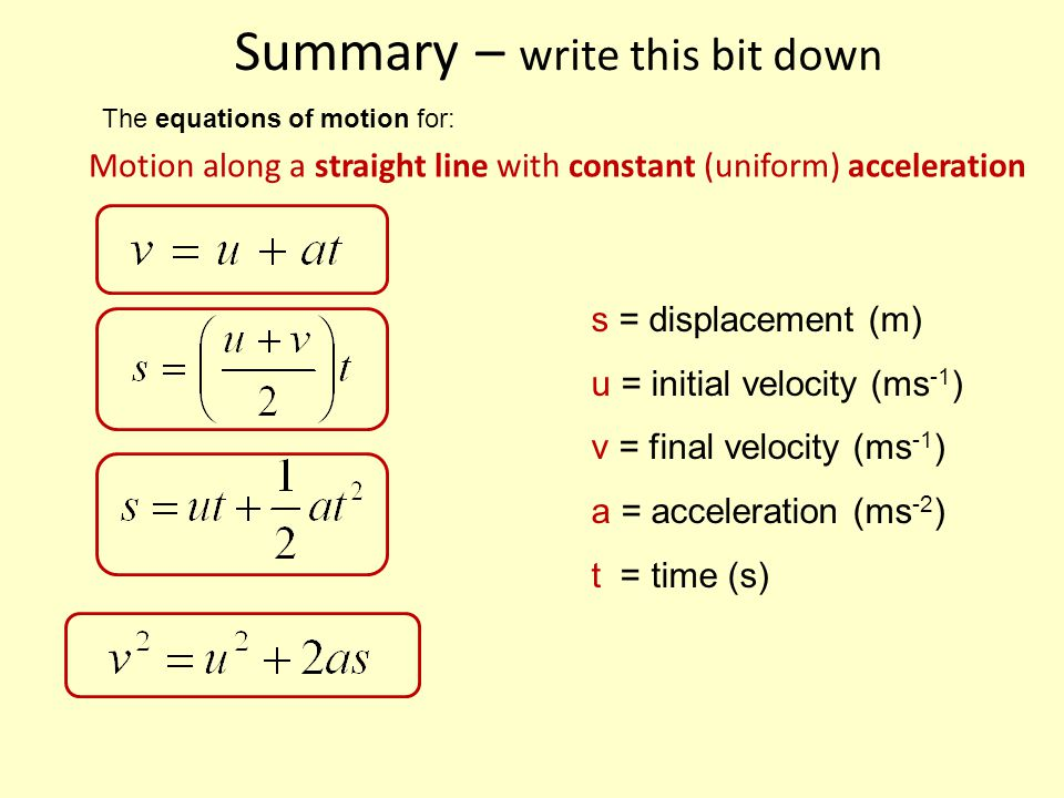 Summary – write this bit down Motion along a straight line with constant (uniform) acceleration The equations of motion for: s = displacement (m) u = initial velocity (ms -1 ) v = final velocity (ms -1 ) a = acceleration (ms -2 ) t = time (s)