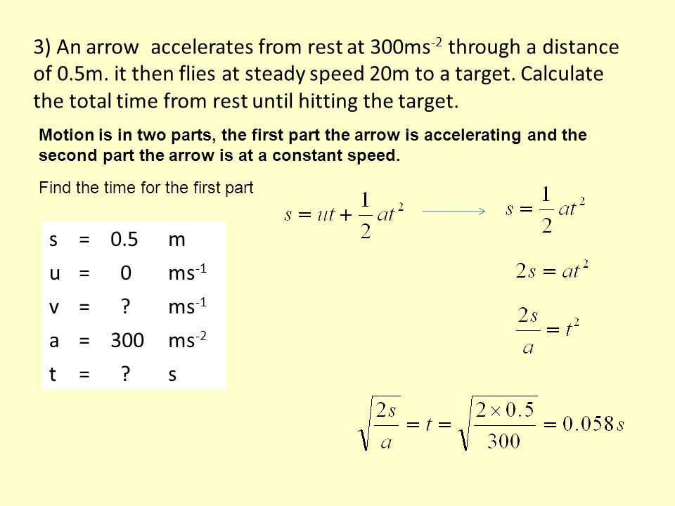 3) An arrow accelerates from rest at 300ms -2 through a distance of 0.5m.