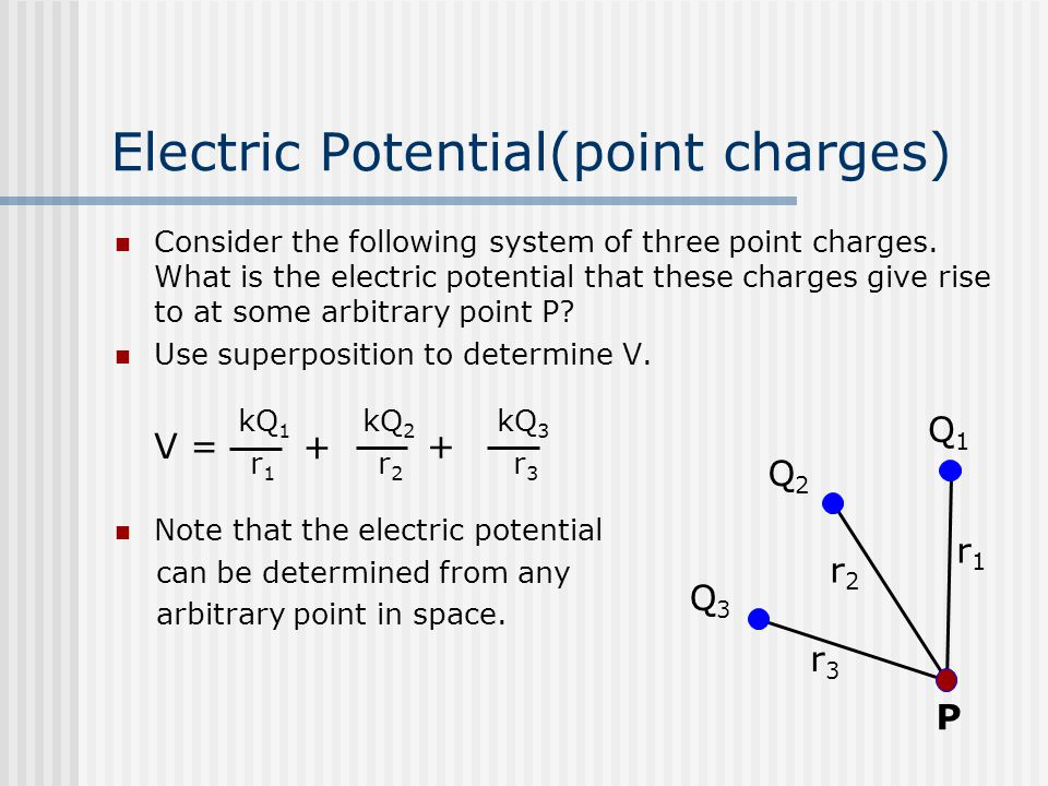 Electric Potential(point charges) Consider the following system of three point charges. What is the electric potential that these charges give rise to