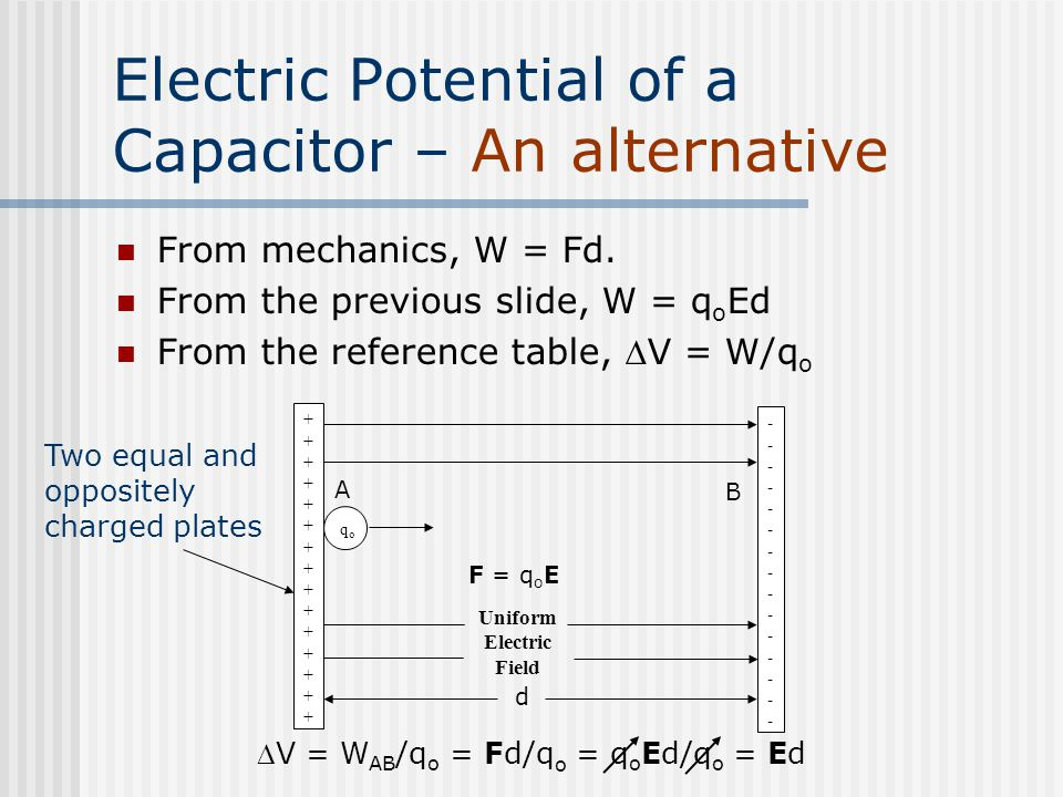 Electric Potential of a Capacitor – An alternative From mechanics, W = Fd. From the previous slide, W = q o Ed From the reference table, V = W/q o V