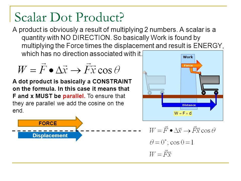 Scalar Dot Product. A product is obviously a result of multiplying 2 numbers.