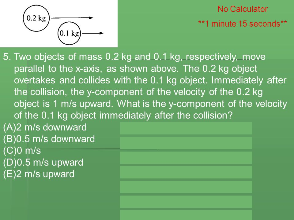 5. Two objects of mass 0.2 kg and 0.1 kg, respectively, move parallel to the x ‑ axis, as shown above. The 0.2 kg object overtakes and collides with t