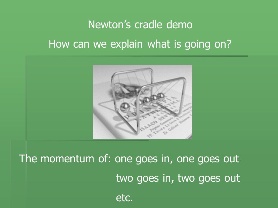 Newton's cradle demo How can we explain what is going on.