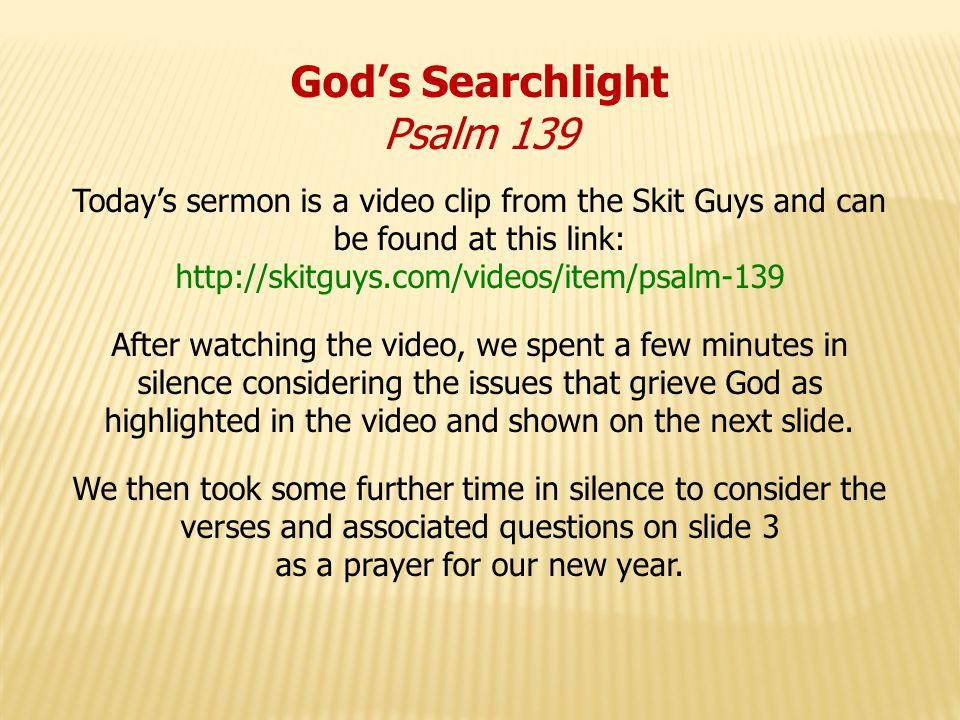 God's Searchlight Psalm 139 Issues that grieve God include: Repeated anger with people Watching images which are inappropriate, exploitative or of no godly value which distract from Gods purposes for me Repeatedly saying Im sorry & not accepting God's forgiveness Not speaking the truth Blaming God when things go wrong & not giving God thanks when we receive blessings Comparing myself with other good people and trying to imitate them instead of Jesus.
