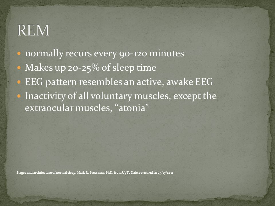 normally recurs every 90-120 minutes Makes up 20-25% of sleep time EEG pattern resembles an active, awake EEG Inactivity of all voluntary muscles, except the extraocular muscles, atonia Stages and architecture of normal sleep, Mark R.