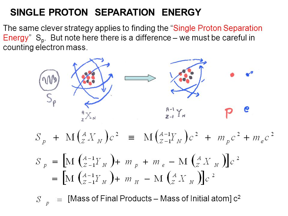 "SINGLE PROTON SEPARATION ENERGY The same clever strategy applies to finding the ""Single Proton Separation Energy"" S p. But note here there is a differ"