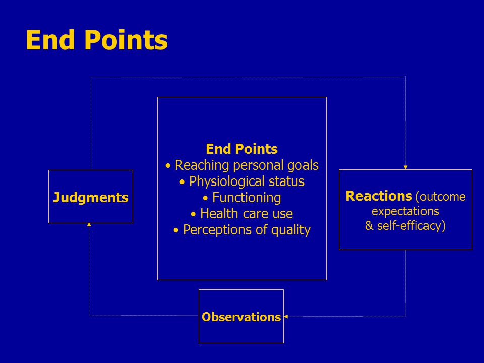 End Points Reaching personal goals Physiological status Functioning Health care use Perceptions of quality Reactions (outcome expectations & self-efficacy) Observations Judgments End Points