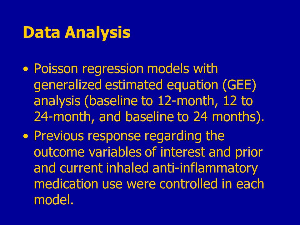 Data Analysis Poisson regression models with generalized estimated equation (GEE) analysis (baseline to 12-month, 12 to 24-month, and baseline to 24 months).