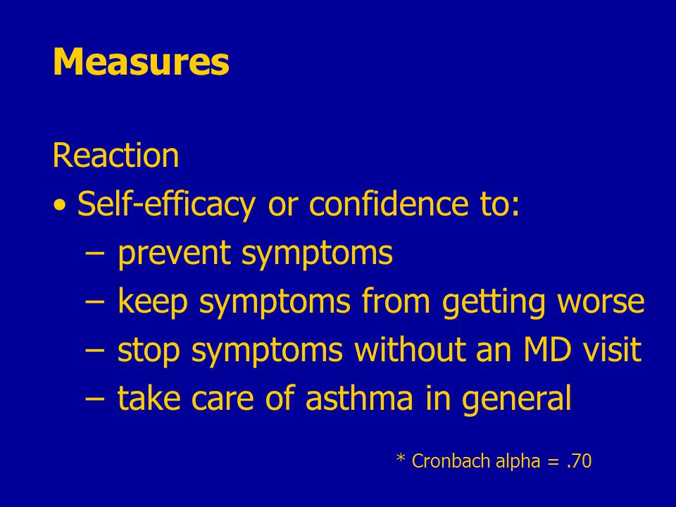 * Cronbach alpha =.70 Measures Reaction Self-efficacy or confidence to: – prevent symptoms – keep symptoms from getting worse – stop symptoms without an MD visit – take care of asthma in general