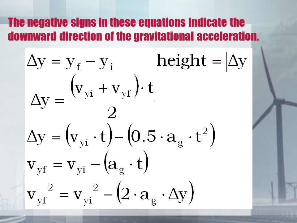 The negative signs in these equations indicate the downward direction of the gravitational acceleration.