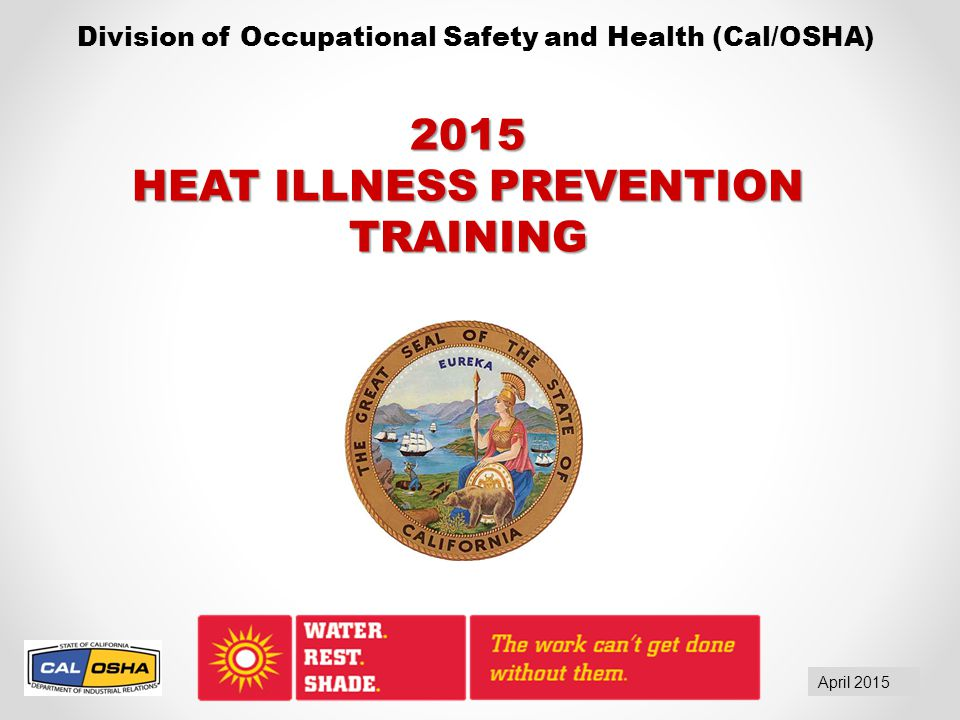 Serious Hazard You risk a serious citation if the outdoor temperature in the work area exceeds 80  F and any of these required elements is not present at the site:  Drinking water  Shade  Trained employees or supervisor  Emergency response procedures