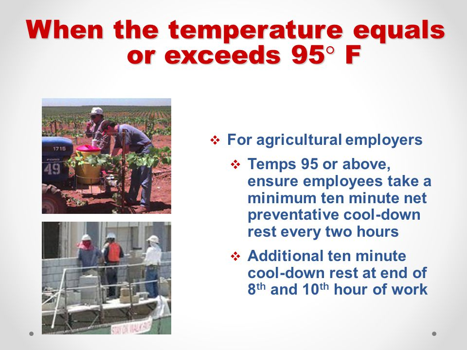  For agricultural employers  Temps 95 or above, ensure employees take a minimum ten minute net preventative cool-down rest every two hours  Additio