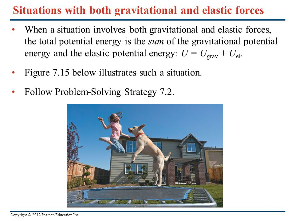 Copyright © 2012 Pearson Education Inc. Situations with both gravitational and elastic forces When a situation involves both gravitational and elastic