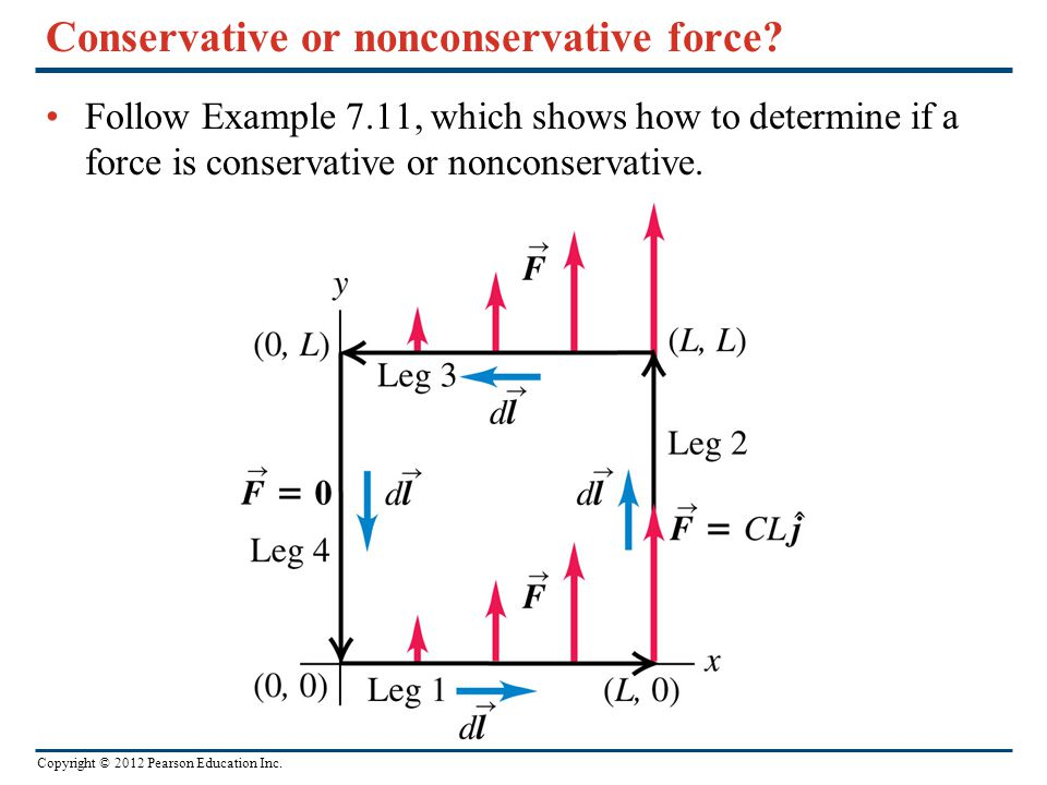 Copyright © 2012 Pearson Education Inc. Conservative or nonconservative force? Follow Example 7.11, which shows how to determine if a force is conserv