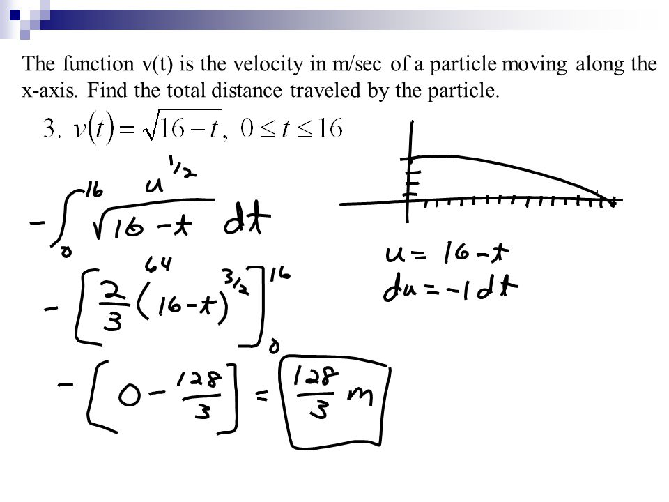 The function v(t) is the velocity in m/sec of a particle moving along the x-axis.