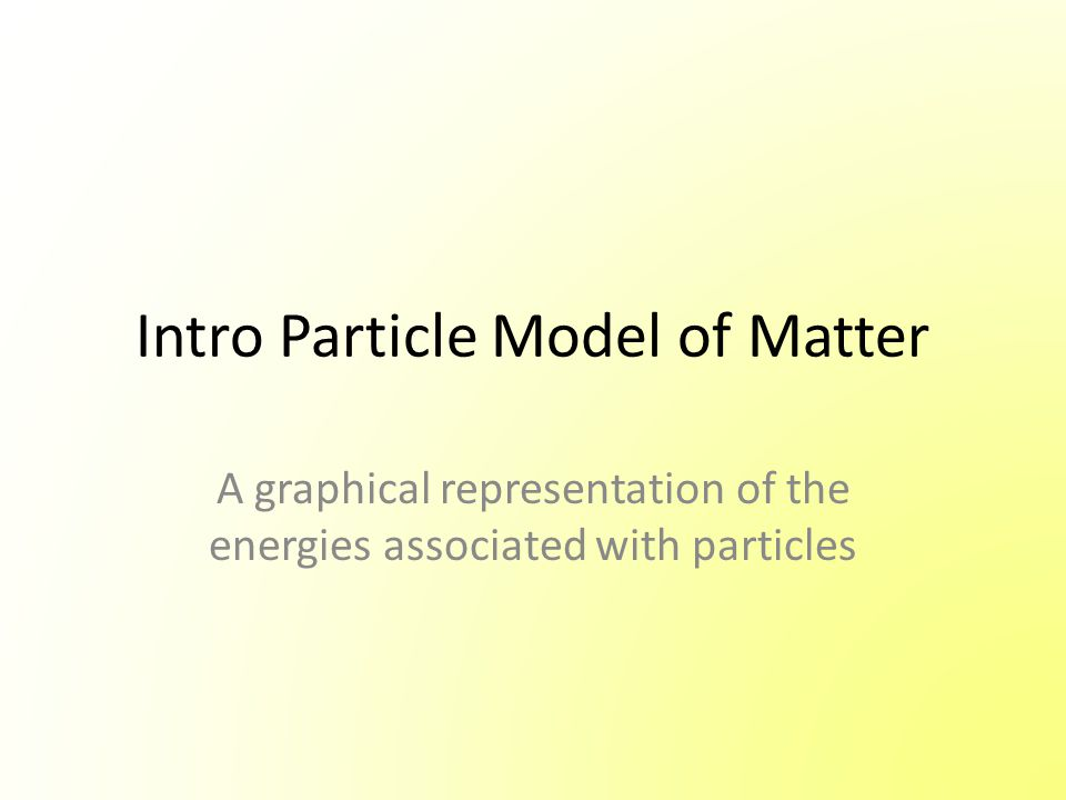 Intro Particle Model of Matter A graphical representation of the energies associated with particles