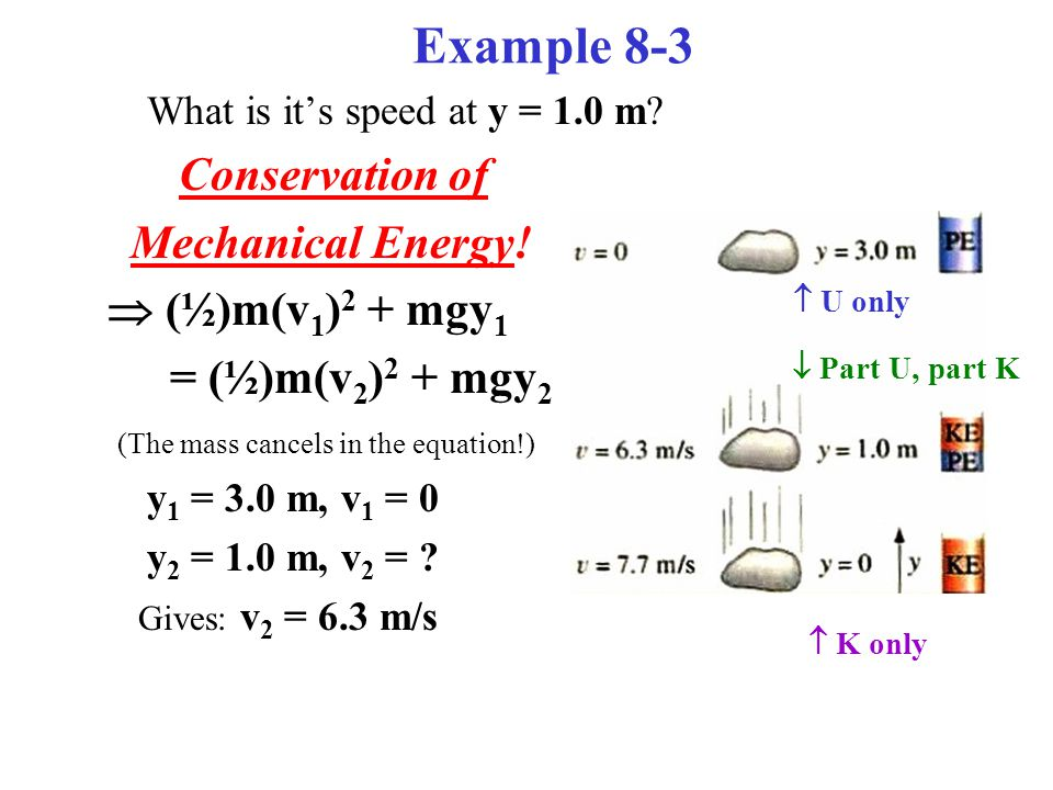 Example 8-3 What is it's speed at y = 1.0 m. Conservation of Mechanical Energy.