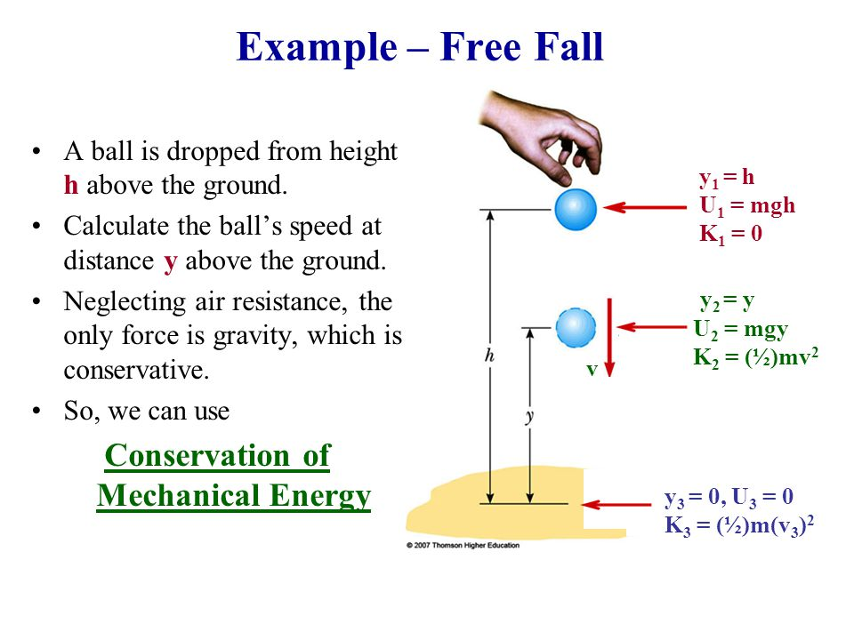 Example – Free Fall A ball is dropped from height h above the ground. Calculate the ball's speed at distance y above the ground. Neglecting air resist