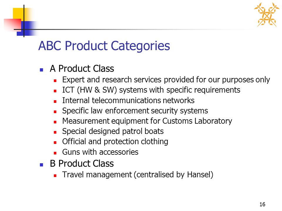 16 ABC Product Categories A Product Class Expert and research services provided for our purposes only ICT (HW & SW) systems with specific requirements
