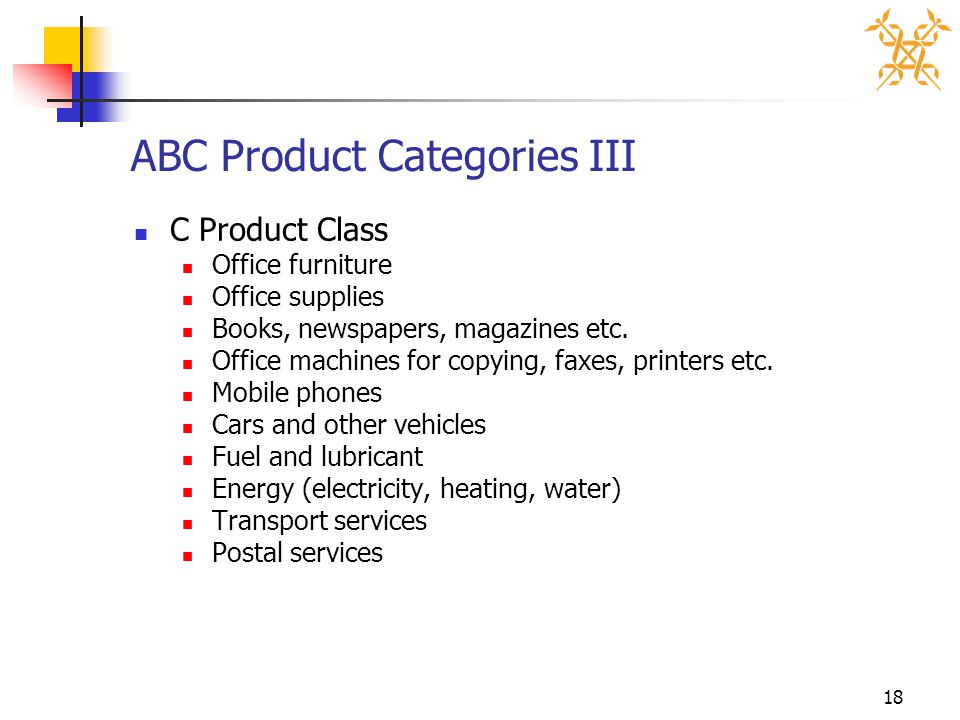 18 ABC Product Categories III C Product Class Office furniture Office supplies Books, newspapers, magazines etc. Office machines for copying, faxes, p