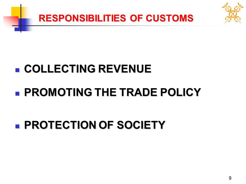 9 RESPONSIBILITIES OF CUSTOMS RESPONSIBILITIES OF CUSTOMS COLLECTING REVENUE COLLECTING REVENUE PROMOTING THE TRADE POLICY PROMOTING THE TRADE POLICY PROTECTION OF SOCIETY PROTECTION OF SOCIETY
