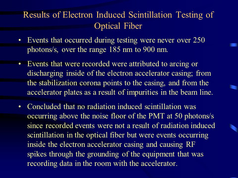 Results of Electron Induced Scintillation Testing of Optical Fiber Events that occurred during testing were never over 250 photons/s, over the range 185 nm to 900 nm.