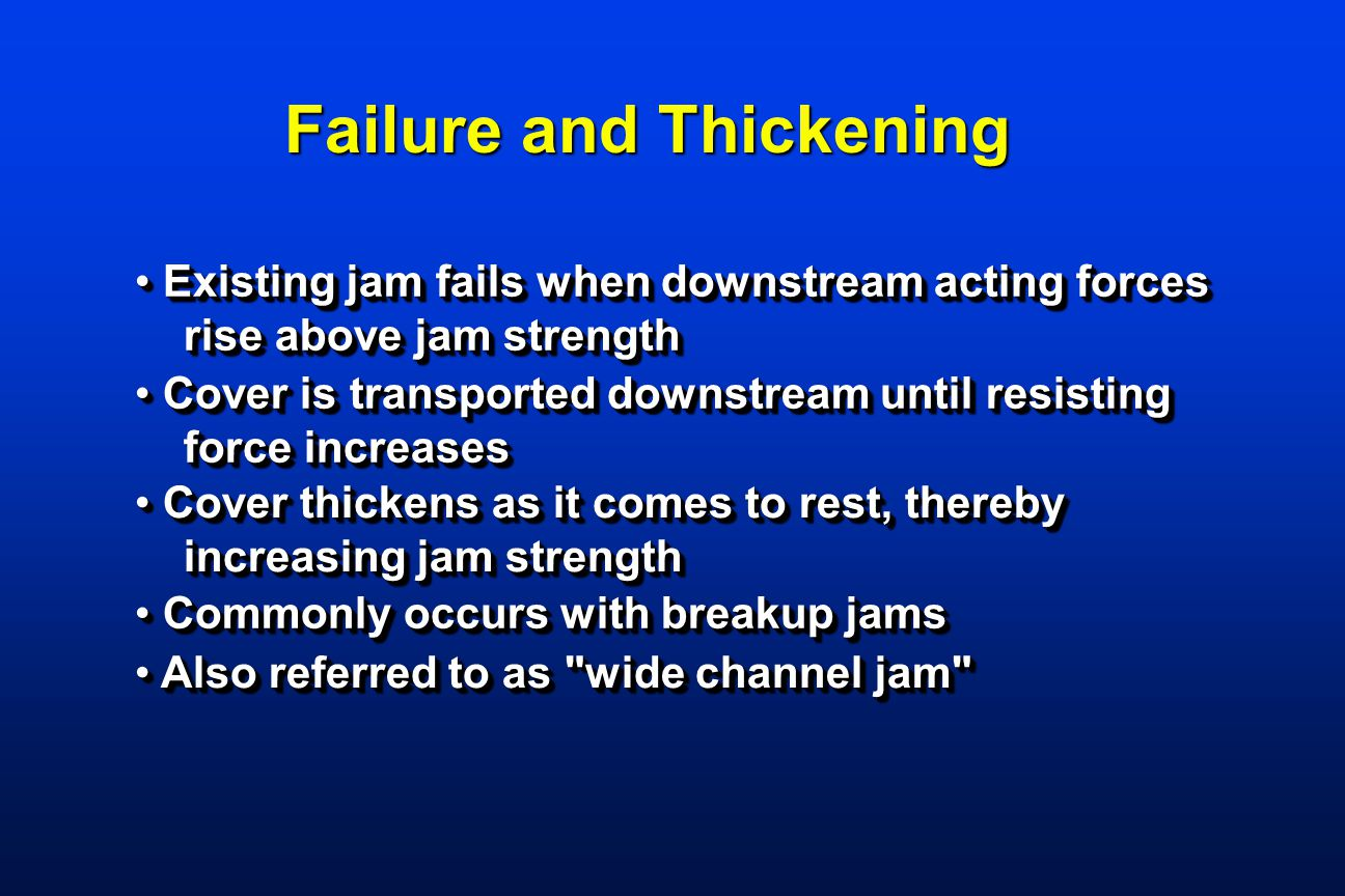 Existing jam fails when downstream acting forces Existing jam fails when downstream acting forces rise above jam strength rise above jam strength Exis