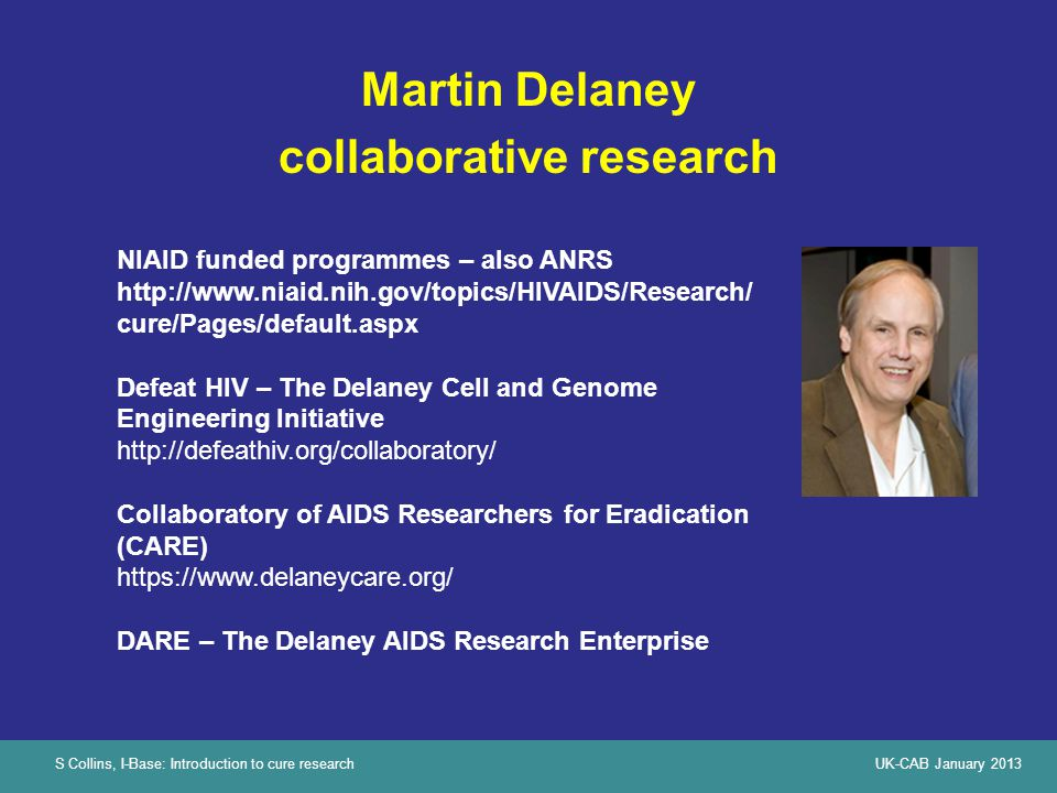S Collins, I-Base: Introduction to cure researchUK-CAB January 2013 Martin Delaney collaborative research NIAID funded programmes – also ANRS http://w
